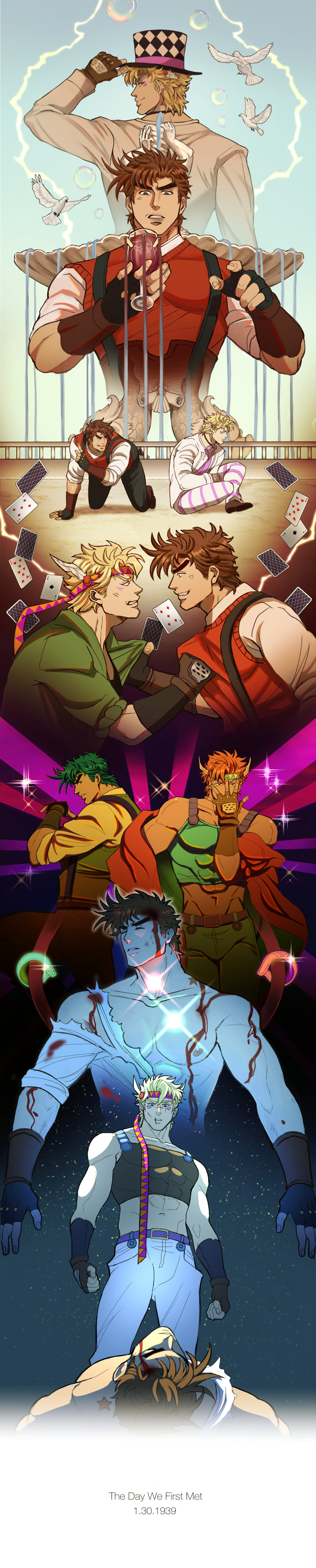 2boys abs absurdres ace_of_spades alcohol all_fours alternate_color anger_vein angry animal argyle_hat arm_up bare_shoulders battle_tendency belt belt_buckle bird birthmark black_gloves black_pants bleeding blonde_hair blood blood_on_arm blood_on_chest blood_on_face blood_stain bloody_clothes bloody_hair blue_eyes bow bowtie broken brown_footwear brown_gloves brown_hair brown_pants bubble buckle card catneylang chromatic_aberration clenched_hands clenched_teeth closed_eyes closed_mouth clothes_grab collarbone covered_abs covered_mouth crop_top cup cuts diffraction_spikes dove drinking_glass electricity english_text eye_contact eyebrows facial_mark feathers fingerless_gloves fountain from_below from_side furrowed_eyebrows gloves glowing green_eyes green_hair green_jacket green_pants grin hair_feathers hand_on_headwear hand_over_face hat headband highres holding holding_cup huge_filesize incredibly_absurdres index_finger_raised injury jacket jewelry joestar_birthmark jojo_no_kimyou_na_bouken jojo_pose leg_up long_image looking_at_another looking_back looking_down lying male_focus midriff multiple_boys multiple_sources multiple_views muscular muscular_male navel nipples off_shoulder on_back orange_eyes orange_hair orange_jacket pants pectorals pink_neckwear playing_card pose profile purple_belt red_sweater ring robert_eo_speedwagon scratches shirt shoe_soles shoes short_hair sideways_glance sitting sleeveless sleeves_folded_up smile standing stomach striped striped_pants suspenders sweat sweater sweater_vest tall_image teeth thick_eyebrows top_hat torn_clothes torn_shirt triangle_print unconscious wet wet_hair white_jacket white_pants white_shirt wine wine_glass yellow_shirt