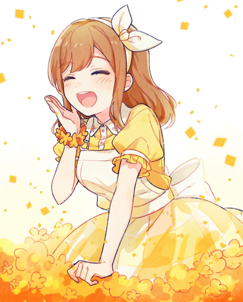 1girl ^_^ ^o^ back_bow bangs bow clenched_hand closed_eyes commentary_request dot_nose dress eyebrows_visible_through_hair facing_viewer flower flower_bracelet frilled_sleeves frills from_side hairband hand_up happy highres kunikida_hanamaru leaning_forward light_brown_hair long_hair love_live! love_live!_sunshine!! pinafore_dress puffy_short_sleeves puffy_sleeves ribbon round_teeth shirt short_sleeves solo tanoki_(mituguma) teeth two-tone_dress upper_teeth white_background white_bow white_dress white_hairband white_ribbon wing_collar yellow_flower yellow_shirt yellow_theme |d
