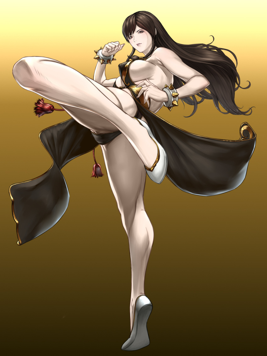 1girl ass bangs bare_shoulders black_dress bracelet breasts brown_eyes brown_hair china_dress chinese_clothes chun-li covered_nipples curvy dress gradient gradient_background highres jewelry kicking large_breasts long_hair no_bra official_alternate_costume pelvic_curtain revealing_clothes sash shisshou_senkoku sideboob slippers spiked_bracelet spikes street_fighter street_fighter_v thighs white_footwear yellow_background