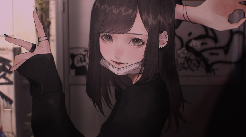1girl arm_behind_head bangs black_eyes black_hair black_nails blurry blurry_background from_side graffiti hair_behind_ear highres jewelry looking_at_viewer mano_aaa mask mask_removed medium_hair nail_polish ok_sign original ring solo upper_body v