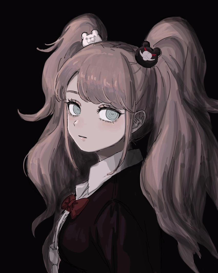 1girl bangs bear_hair_ornament black_background black_shirt blush bow breasts collared_shirt commentary_request crazy_eyes danganronpa:_trigger_happy_havoc danganronpa_(series) enoshima_junko expressionless from_side grey_eyes hair_ornament highres long_hair long_sleeves looking_at_viewer red_bow renshu_usodayo shirt solo twintails upper_body