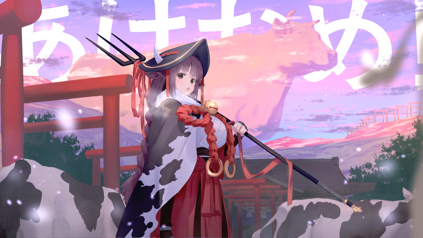 1girl animal animal_ears animal_print background_text bell blue_sky braid breasts brown_eyes brown_hair chinese_zodiac commentary_request cow cow_ears cow_girl cow_horns cow_print day flower_knot from_side giant hakama hand_up hat highres holding horns horns_through_headwear japanese_clothes jingle_bell large_breasts long_hair looking_at_viewer looking_to_the_side multiple_torii open_mouth original outdoors oversized_animal polearm red_skirt sideways_glance skirt sky solo torii translation_request trident wasabi60 weapon year_of_the_ox