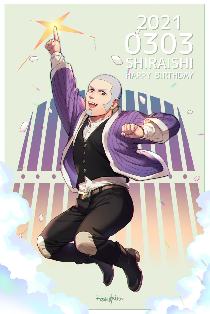 1boy :d artist_name belt black_eyes black_pants black_vest buzz_cut character_name clenched_hand dated facial_hair foxvulpine full_body goatee golden_kamuy grey_hair happy_birthday highres jumping male_focus open_mouth pants pointing pointing_up shiraishi_yoshitake short_hair sideburns smile solo very_short_hair vest
