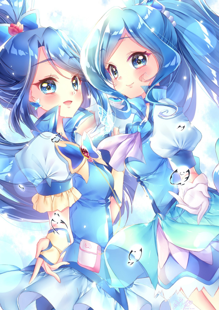 2girls :d artist_request bangs blue_choker blue_eyes blue_hair blue_shirt blue_skirt blush bug butterfly choker color_connection crossover cure_aqua cure_fontaine detached_sleeves dress earrings eyelashes fingerless_gloves flower gloves hair_flower hair_ornament happy healin'_good_precure high_ponytail highres insect jewelry layered_dress long_hair looking_at_viewer magical_girl minazuki_karen multiple_girls open_mouth parted_bangs pink_flower pleated_skirt ponytail precure puffy_short_sleeves puffy_sleeves sawaizumi_chiyu shirt short_dress short_sleeves skirt smile source_request standing very_long_hair vest white_gloves yes!_precure_5 yes!_precure_5_gogo!