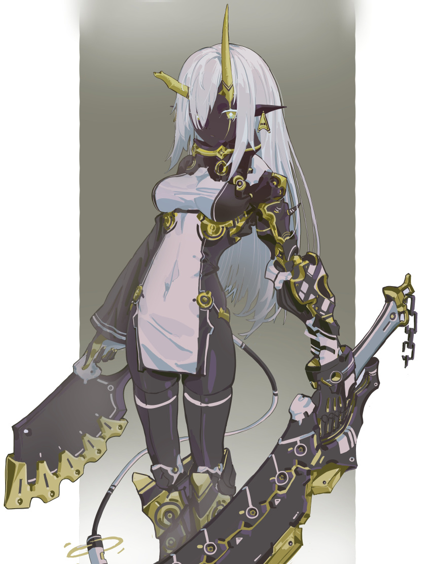 1girl absurdres armor asymmetrical_horns bangs black_legwear boots breasts character_request copyright_request dark_skin dark_skinned_female dress dual_wielding ear_tag hair_over_one_eye highres holding holding_weapon horns kazukingu long_hair medium_breasts pelvic_curtain pointy_ears scar scar_across_eye simple_background single_sleeve solo tail thigh-highs two-tone_background weapon white_hair yellow_eyes