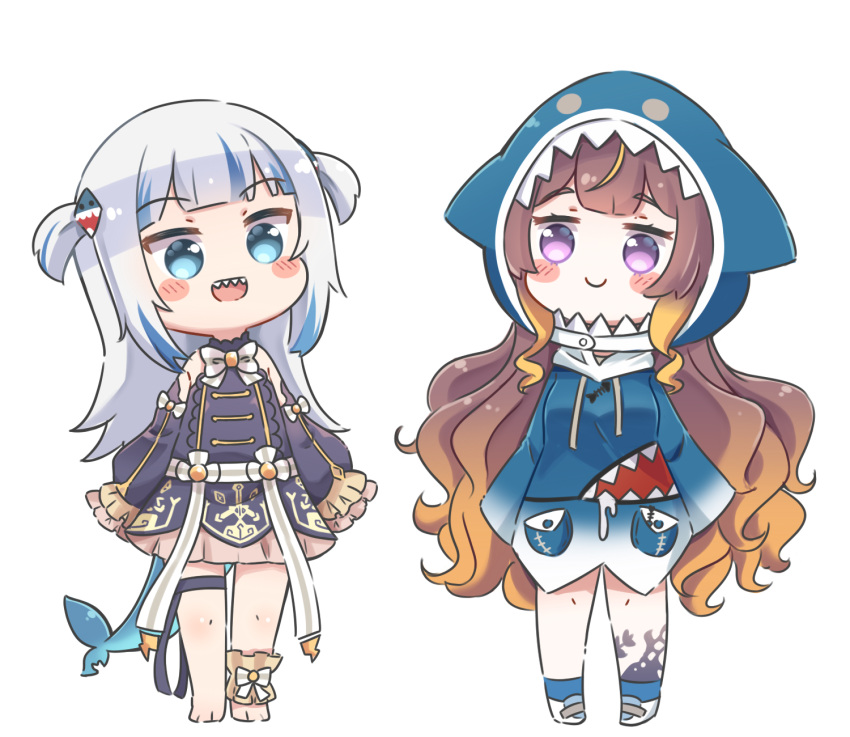 2girls :d animal_hood anya_melfissa anya_melfissa_(cosplay) bangs bare_shoulders barefoot black_dress black_sleeves blue_eyes blue_hair blue_hoodie blue_legwear blush_stickers brown_hair closed_mouth commentary_request cosplay costume_switch detached_sleeves dress eyebrows_visible_through_hair fish_tail gawr_gura gawr_gura_(cosplay) gradient_hair hair_ornament highres hololive hololive_english hololive_indonesia hood hood_up hoodie long_sleeves multicolored_hair multiple_girls open_mouth puffy_long_sleeves puffy_sleeves rutorifuki shark_hood shark_tail sharp_teeth shoes sleeveless sleeveless_dress smile socks tail teeth two_side_up violet_eyes virtual_youtuber white_footwear