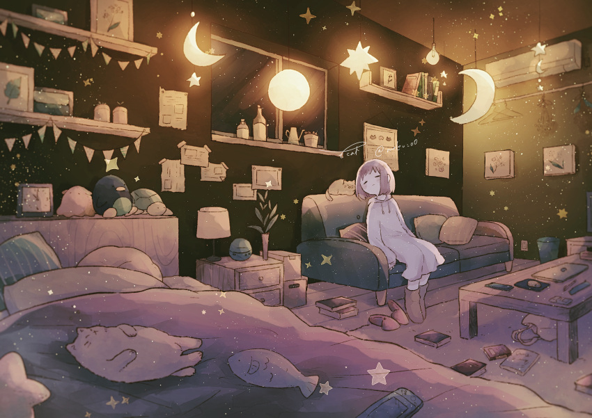 1girl absurdres bed boots brown_hair cat closed_eyes closed_mouth couch crescent_moon highres hood hoodie huge_filesize indoors long_sleeves lupinus4869 moon night original oversized_clothes sleeves_past_wrists slippers_removed solo star_(symbol) stuffed_animal stuffed_toy window