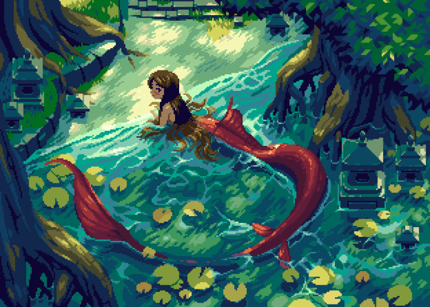 1girl absurdres bangs bare_shoulders blush brown_hair commentary english_commentary forest from_above from_side grass highres in_water long_hair looking_at_viewer mermaid monster_girl nature nostalgia_tree original parted_bangs pixel_art plant_request red_tail solo tree water
