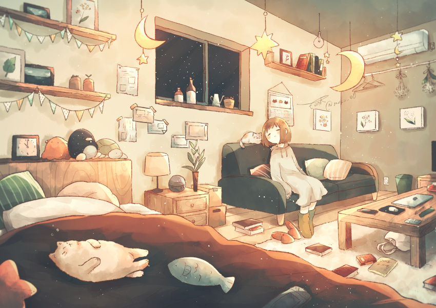 1girl absurdres bed boots brown_hair cat closed_eyes closed_mouth couch crescent_moon highres hood hoodie indoors long_sleeves lupinus4869 moon night original oversized_clothes sleeves_past_wrists slippers_removed solo star_(symbol) stuffed_animal stuffed_toy window