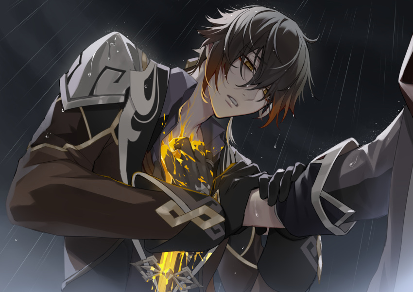 2boys bangs black_gloves black_hair bleeding blood brown_hair chisuke_1104 clouds cloudy_sky crack cracked_skin dark_clouds earrings eyebrows_visible_through_hair eyes_visible_through_hair formal genshin_impact gloves hair_between_eyes hand_on_another's_arm hand_on_another's_chest injury jacket jewelry long_sleeves male_focus multicolored_hair multiple_boys open_clothes open_mouth rain ring single_earring sky tartaglia_(genshin_impact) tassel tassel_earrings water wet wet_clothes yellow_eyes zhongli_(genshin_impact)