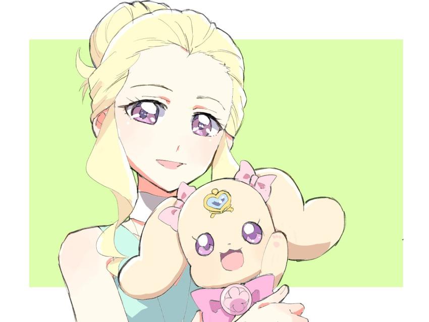 1girl azuma_yukihiko blonde_hair eyelashes fuurin_asumi hair_bun hair_up happy healin'_good_precure highres latte_(precure) long_hair looking_at_viewer open_mouth precure sketch smile solo violet_eyes
