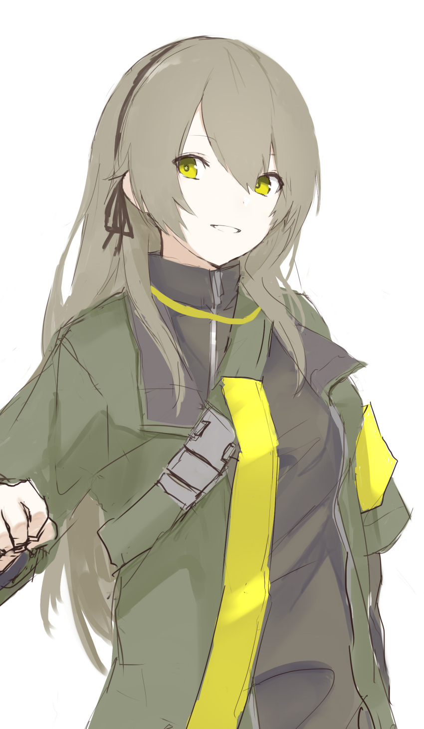 1girl absurdres black_ribbon bodysuit breasts eyebrows_visible_through_hair ff_frbb122 girls_frontline green_eyes green_jacket grey_hair hair_ribbon hairband hand_on_back highres jacket long_hair looking_at_viewer open_clothes open_jacket ribbon smile solo standing ump40_(girls_frontline) white_background