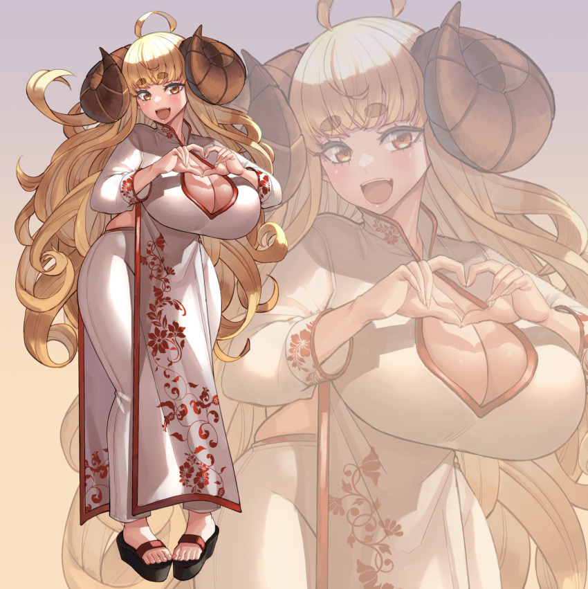 1girl ahoge anila_(granblue_fantasy) blonde_hair blood_hood breasts chinese_clothes cleavage_cutout clothing_cutout commission draph floral_print full_body goat_horns granblue_fantasy heart heart_hands highres horns huge_breasts long_hair sandals short_stack simple_background smile solo thick_eyebrows very_long_hair yellow_eyes