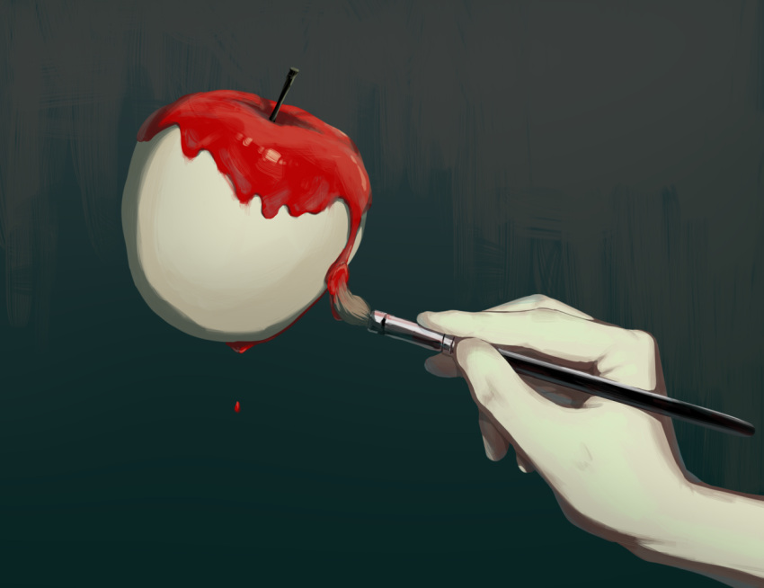1other apple art_brush avogado6 commentary_request food fruit grey_background head_out_of_frame holding holding_paintbrush original paintbrush painting red_apple solo symbolism