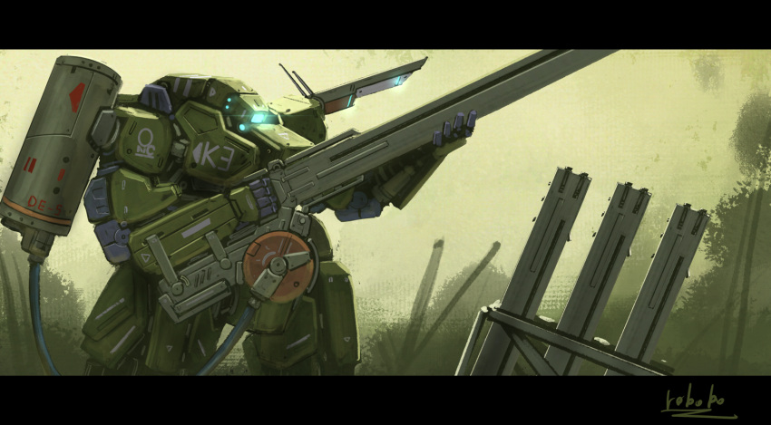backpack bag blue_eyes bottoms1237 cable gun highres holding holding_gun holding_weapon looking_down mecha no_humans one-eyed original radio_antenna rifle science_fiction sniper_rifle solo weapon