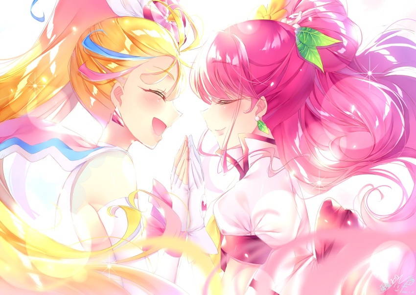 2girls blonde_hair blush closed_eyes commentary_request cure_grace cure_summer dress earrings eyelashes fingerless_gloves gloves hair_ornament hanadera_nodoka happy healin'_good_precure highres holding_hands jewelry layered_dress long_hair long_sleeves looking_at_another magical_girl multicolored_hair multiple_girls natsuumi_manatsu pink_hair ponytail precure puffy_sleeves simple_background smile streaked_hair touki_matsuri tropical-rouge!_precure very_long_hair white_background wings