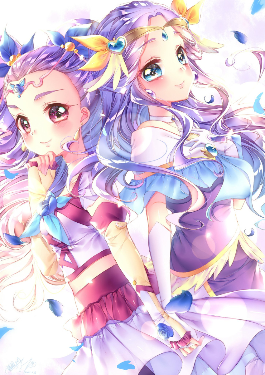 2girls aqua_eyes blush choker color_connection commentary_request cure_earth detached_sleeves dress earrings eyelashes fuurin_asumi hair_ornament happy healin'_good_precure highres holding_hands jewelry looking_at_viewer magical_girl milk_(yes!_precure_5) milky_rose mimino_kurumi multiple_girls petals precure purple_dress smile standing touki_matsuri violet_eyes yes!_precure_5 yes!_precure_5_gogo!