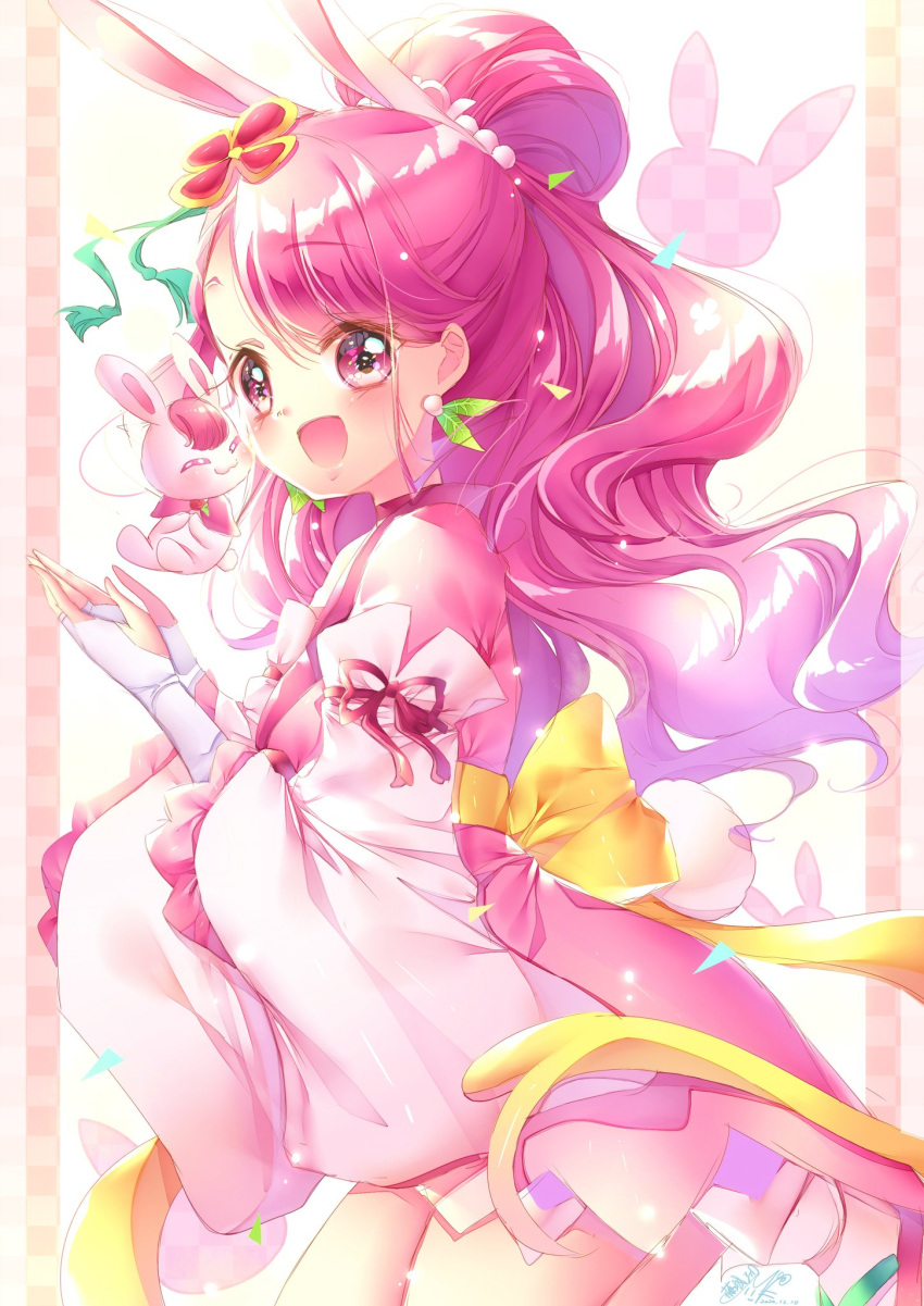 1girl :d alternate_costume animal_ears blush bow commentary_request cure_grace dress earrings eyelashes hair_ornament hanadera_nodoka happy healin'_good_precure highres jewelry looking_at_viewer magical_girl open_mouth pink_dress pink_eyes pink_hair precure rabbit_ears rabirin_(precure) smile solo standing touki_matsuri