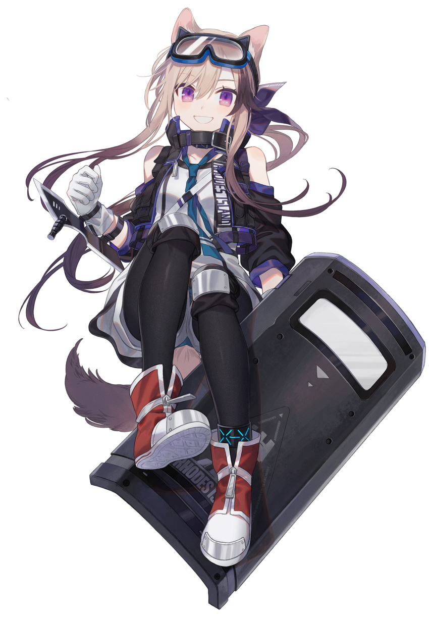 1girl absurdres animal_ears anklet arknights bare_shoulders blonde_hair cardigan_(arknights) dog_ears dog_girl dog_tail highres jewelry ji_mag_(artist) long_hair looking_at_viewer rhodes_island_logo shield shoes shorts smile sneakers solo tail thigh-highs
