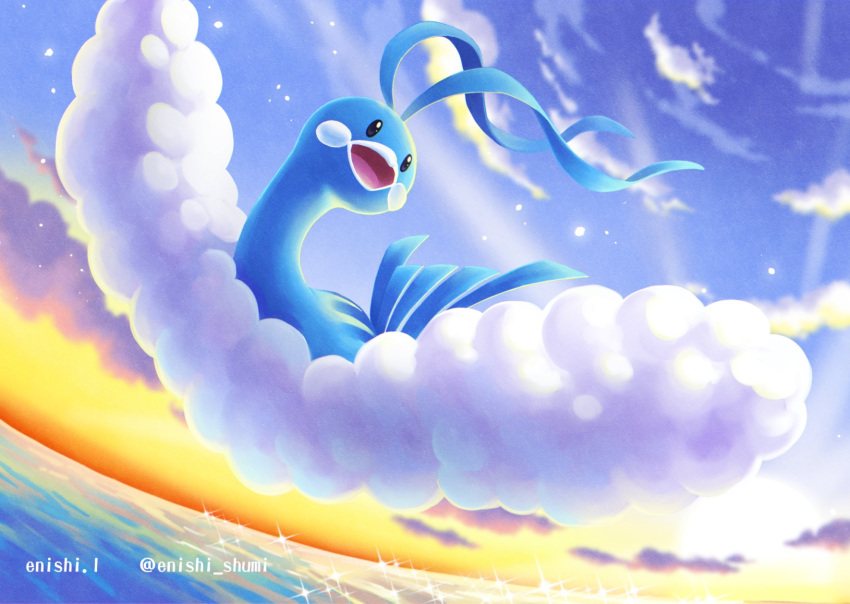 altaria clouds commentary_request day enishi_(menkura-rin10) flying gen_3_pokemon highres looking_to_the_side no_humans open_mouth outdoors pokemon pokemon_(creature) sky solo sparkle tongue