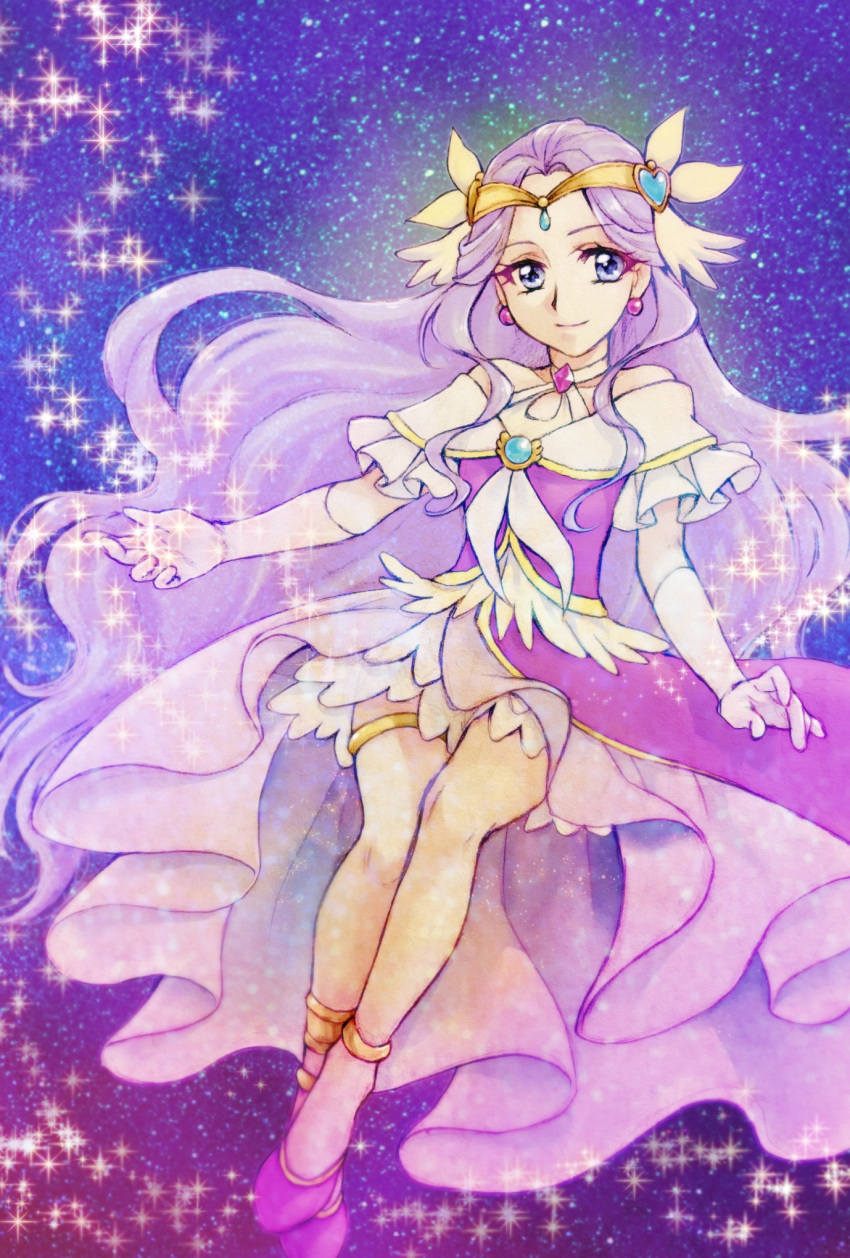 1girl aizen_(syoshiyuki) bare_shoulders commentary_request cure_earth dress earrings elbow_gloves eyelashes fuurin_asumi gloves hair_ornament happy healin'_good_precure highres jewelry long_hair looking_at_viewer magical_girl precure purple_dress purple_hair smile solo starry_background very_long_hair violet_eyes white_gloves