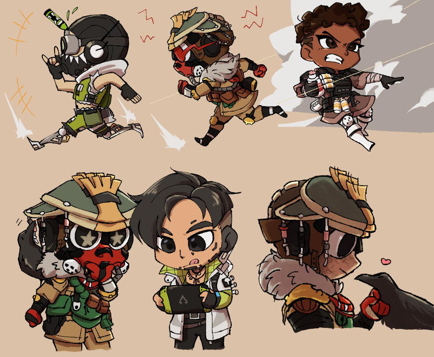 +_+ 1girl 1other 2boys ambiguous_gender apex_legends bangalore_(apex_legends) beige_background bird black_eyes black_gloves black_headwear bloodhound_(apex_legends) brown_eyes cable chibi clenched_hands clenched_teeth cropped_vest crow crypto_(apex_legends) dark_skin dark_skinned_female fingerless_gloves gloves goggles green_sleeves green_vest handheld_game_console heart helmet highres holding holding_grenade holding_handheld_game_console jacket looking_down mask mechanical_legs mouth_mask multiple_boys multiple_views nintendo_switch octane_(apex_legends) open_hand otezo petting running syringe_in_head teeth tongue tongue_out vest white_jacket
