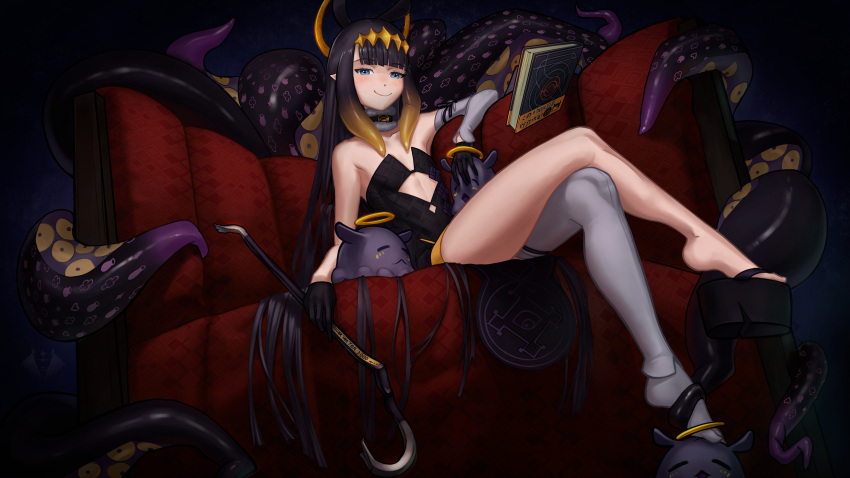 1girl :< ao-chan_(ninomae_ina'nis) artist_logo bangs black_gloves blue_eyes blunt_bangs commentary couch crossed_legs crowbar detached_sleeves dress english_commentary femdom floating floating_book floating_object gloves halo headpiece highres hololive hololive_english kalle_nordfors long_hair looking_at_viewer ninomae_ina'nis octopus okobo pointy_ears purple_hair single_sleeve single_thighhigh sitting smile smug solo tako_(ninomae_ina'nis) tentacle_hair tentacles thigh-highs virtual_youtuber white_legwear