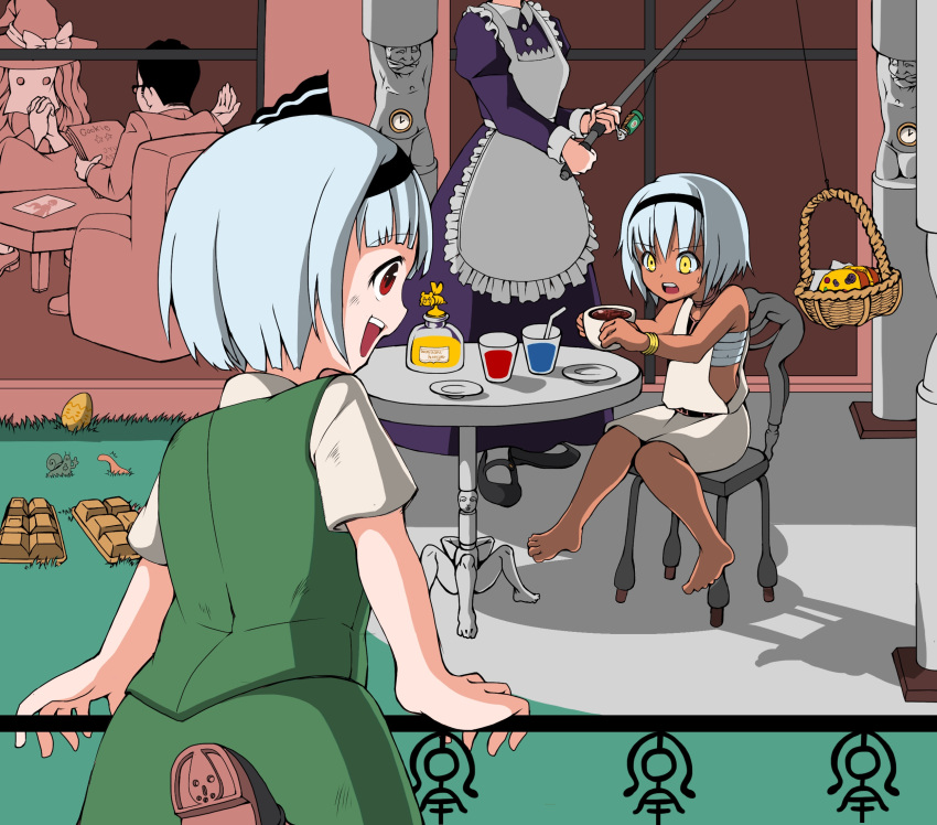 (9) 2boys 3girls ^^^ alice_margatroid apron asatsuki_(cookie) bangs barefoot basket bee belt black_belt black_footwear black_hair black_hairband black_ribbon blouse blunt_bangs bois_de_justice bow brown_footwear bug chair clock collared_blouse column commentary_request cookie_(touhou) cowboy_shot creature cup dies_irae dress easter_egg egg eska_(cookie) eyebrows_visible_through_hair fence fishing_rod food frilled_apron frills fruit fuckin_animal full_body genpatsu_(cookie) grass green_skirt green_vest hair_between_eyes hair_ribbon hairband hat hat_bow hazuna_rio head_out_of_frame highres hinase_(cookie) holding holding_cup holding_fishing_rod holding_paper honey insect izayoi_sakuya jacket jyu_(cookie) kirisame_marisa konpaku_youmu leg_up long_hair looking_at_another maid manatsu_no_yo_no_inmu middle_finger miura_meat multiple_boys multiple_girls nazrin nyon_(cookie) open_mouth outdoors own_hands_together paper pillar plate purple_dress red_eyes ribbon sarashi shinza_bansho_series shoes short_hair sitting skirt sleeveless sleeveless_dress snail table teacup touhou tsuno_(nicoseiga11206720) upper_teeth very_short_hair vest white_apron white_blouse white_dress white_hair witch_hat