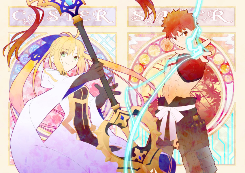 1boy 1girl ahoge artoria_pendragon_(all) artoria_pendragon_(caster)_(fate) bangs blonde_hair emiya_shirou fate/grand_order fate_(series) gloves green_eyes hair_ribbon highres holding holding_weapon limited/zero_over looking_at_viewer mosucchi orange_eyes orange_hair outstretched_hand ribbon sengo_muramasa_(fate) smile upper_body weapon wide_sleeves