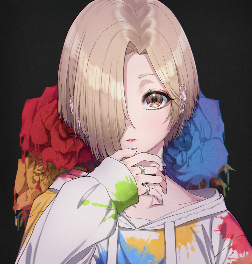 1girl applepie_(12711019) black_background black_choker blonde_hair blue_flower blue_nails blue_rose brown_eyes choker collarbone commentary drawstring ear_piercing earrings flower hair_over_one_eye hand_up highres hood hood_down hoodie hoop_earrings idolmaster idolmaster_cinderella_girls idolmaster_cinderella_girls_starlight_stage jewelry long_sleeves looking_at_viewer nail_polish paint_on_clothes paint_stains parted_lips piercing red_flower red_rose ring rose shiny shiny_hair shirasaka_koume short_hair simple_background sleeves_past_wrists solo upper_body white_hoodie yellow_flower yellow_rose