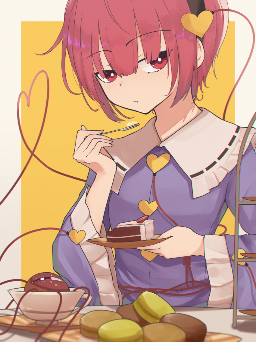 1girl :t absurdres bangs blouse blue_blouse border breasts bright_pupils cake cake_slice closed_mouth commentary_request eating eyeball eyebrows_visible_through_hair food food_request fork frilled_shirt_collar frills heart heart_of_string highres holding holding_fork holding_plate komeiji_satori looking_at_viewer orange_background outside_border pink_eyes pink_hair plate senzaicha_kasukadoki simple_background small_breasts solo third_eye touhou upper_body white_background white_border white_pupils