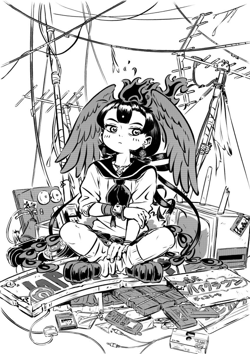 1girl alternate_costume appleq bird_tail bird_wings camera cassette_tape cellphone closed_mouth contemporary earrings expressionless fiery_hair fire floppy_disk full_body game_cartridge greyscale hand_on_own_arm hand_on_own_leg head_wings hi_no_tori hi_no_tori_(kemono_friends) highres indian_style jewelry kemono_friends knees_apart_feet_together looking_at_viewer monochrome outstretched_arm pendant phone radio_antenna rotary_phone sailor_collar school_uniform shirt shoes short_hair sign sitting sitting_on_object skirt socks solo tail television videocassette watch watch wings