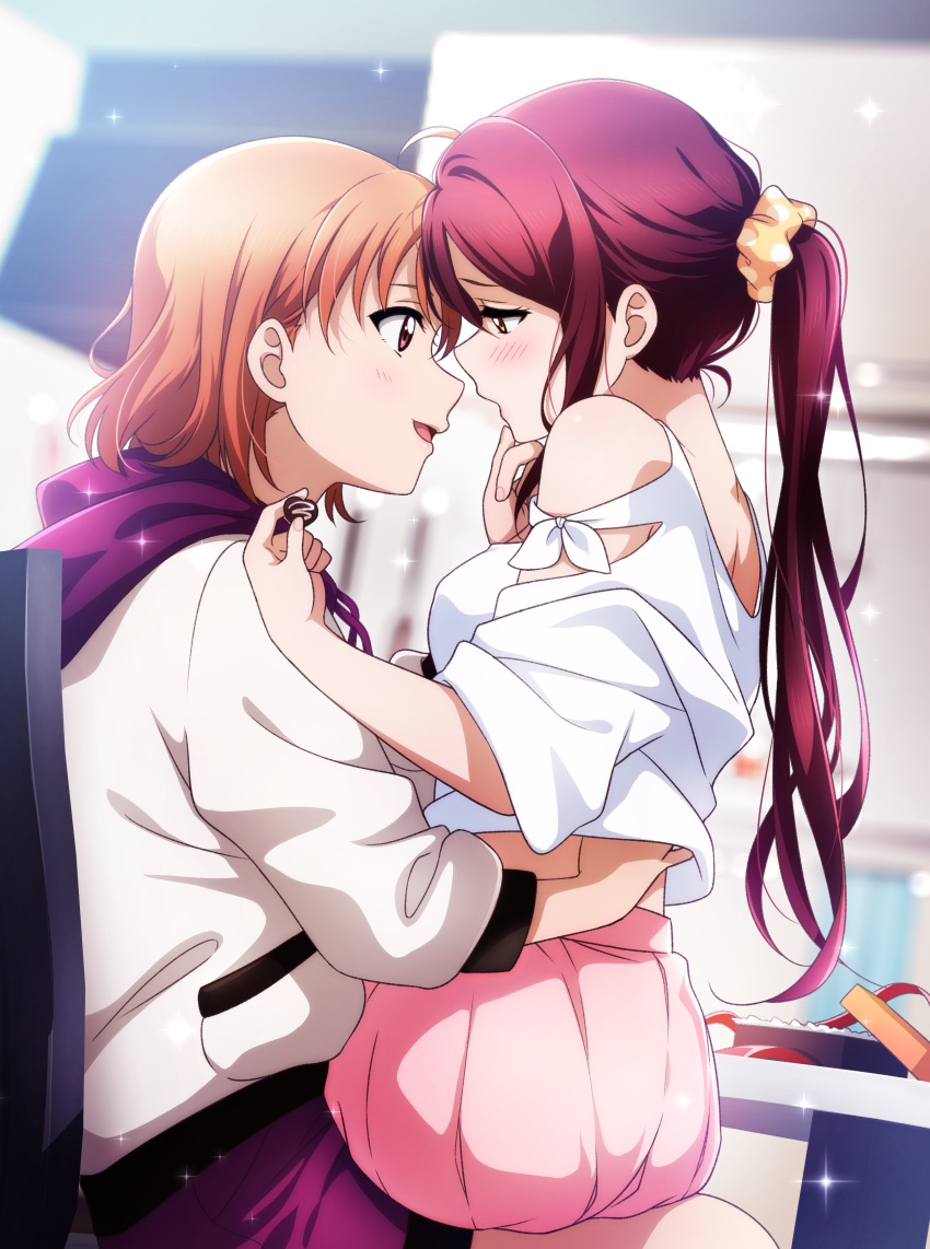 2girls absurdres ahoge bare_shoulders blurry blurry_background blush breasts candy chair chocolate chocolate_heart commentary_request eye_contact food hair_ornament hair_scrunchie hand_on_another's_chin hand_under_clothes hand_under_shirt heart highres holding hood hoodie kougi_hiroshi long_hair long_sleeves looking_at_another looking_to_the_side love_live! love_live!_sunshine!! medium_breasts multiple_girls open_mouth orange_hair pleated_skirt polka_dot polka_dot_scrunchie ponytail purple_shorts red_eyes redhead sakurauchi_riko scrunchie shirt short_hair short_sleeves shorts sitting sitting_on_lap sitting_on_person skirt sparkle takami_chika valentine white_hoodie white_shirt yellow_eyes yellow_scrunchie yuri