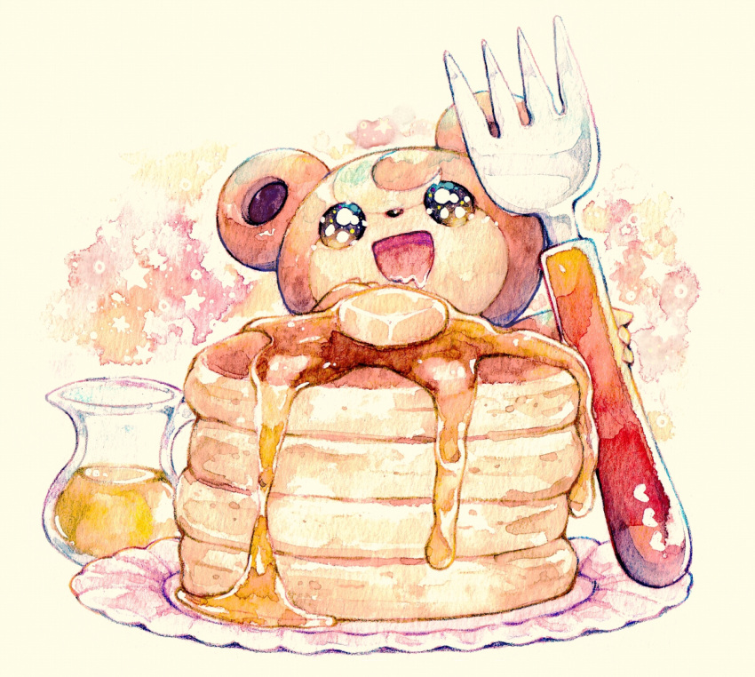 :d brown_eyes food fork gen_2_pokemon jug mouth_drool no_humans open_mouth pancake pokemon pokemon_(creature) rrrpct smile solo symbol_commentary syrup teddiursa traditional_media watercolor_(medium)