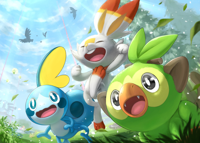 absurdres black_eyes blue_eyes blurry bright_pupils closed_eyes clouds commentary_request corviknight corvisquire day eldegoss fang fangs from_below gen_8_pokemon grass grookey highres leaves_in_wind no_humans open_mouth outdoors pokemon pokemon_(creature) ria_(mari1101) rookidee scorbunny sky sobble starter_pokemon_trio tongue tree white_fur