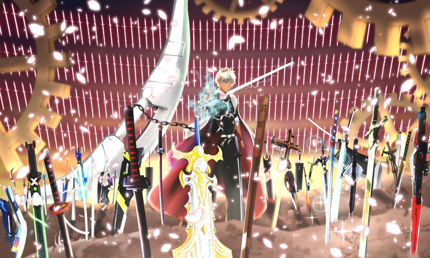 1boy absurdres archer armor attache_arrow attache_calibur bankai berserk blay_rouzer bleach bow_(weapon) brown_eyes buster_sword commentary_request covered_abs crossover d.gray-man dai-kaijuu_battle_ultra_ginga_densetsu_the_movie dark_repulser dark_skin dark_skinned_male dengasher_sword_mode devil_may_cry devil_may_cry_3 devil_may_cry_4 dragonslayer_(sword) elucidator energy_sword fate/grand_order fate/stay_night fate_(series) field_of_blades final_fantasy final_fantasy_vii flame_saber gears glasses grey_eyes highres huge_filesize huge_weapon inuyasha kaixa_blaygun kamen_rider kamen_rider_01_(series) kamen_rider_555 kamen_rider_agito_(series) kamen_rider_black_rx_(series) kamen_rider_blade_(series) kamen_rider_dcd kamen_rider_den-o_(series) kamen_rider_w kasanekirari long_sleeves master_sword multiple_weapons muscular planted_sword planted_weapon prism_bicker raglan_sleeves rave red_queen_(sword) revolcane ride_booker shining_caliber silver_hair sode_no_shirayuki_(shikai) summer_casual_(fate) sword sword_art_online tank_top tensa_zangetsu_(bankai) tetsusaiga the_legend_of_zelda too_many_weapons ultra_series ultraman_x_(series) ultraman_zero_the_movie ultraman_zero_the_movie_choukessen!_belial_ginga_teikoku ultraman_zero_vs_darklops_zero unlimited_blade_works_(fate) weapon weapon_request white_hair xlugger zero_twin_sword