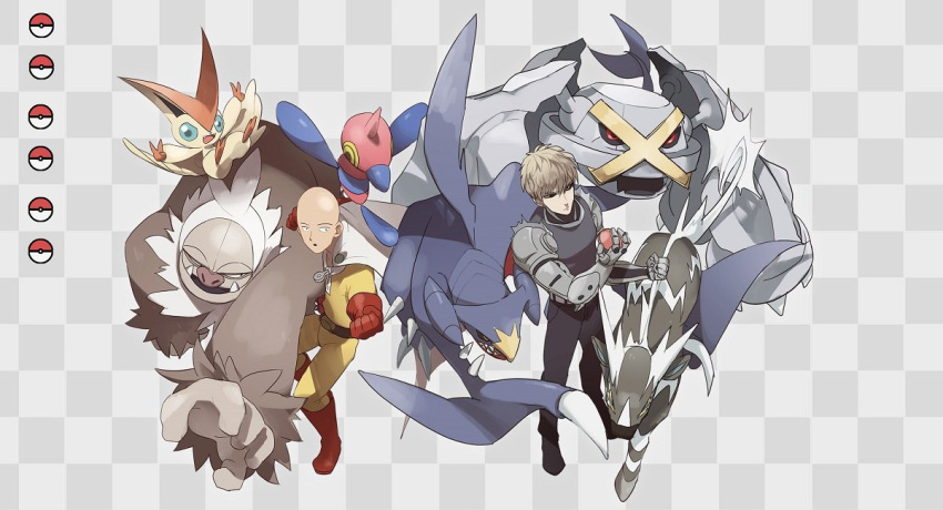 2boys alternate_color armor bald bangs belt black_pants boots cape character_request checkered checkered_background clenched_hand commentary_request crossover garchomp gen_3_pokemon gen_4_pokemon gen_5_pokemon gloves male_focus metagross multiple_boys mythical_pokemon no-kan one-punch_man pants poke_ball_symbol pokemon pokemon_(creature) porygon-z red_footwear red_gloves saitama_(one-punch_man) shiny_pokemon short_hair slaking standing two-tone_background victini white_cape zebstrika
