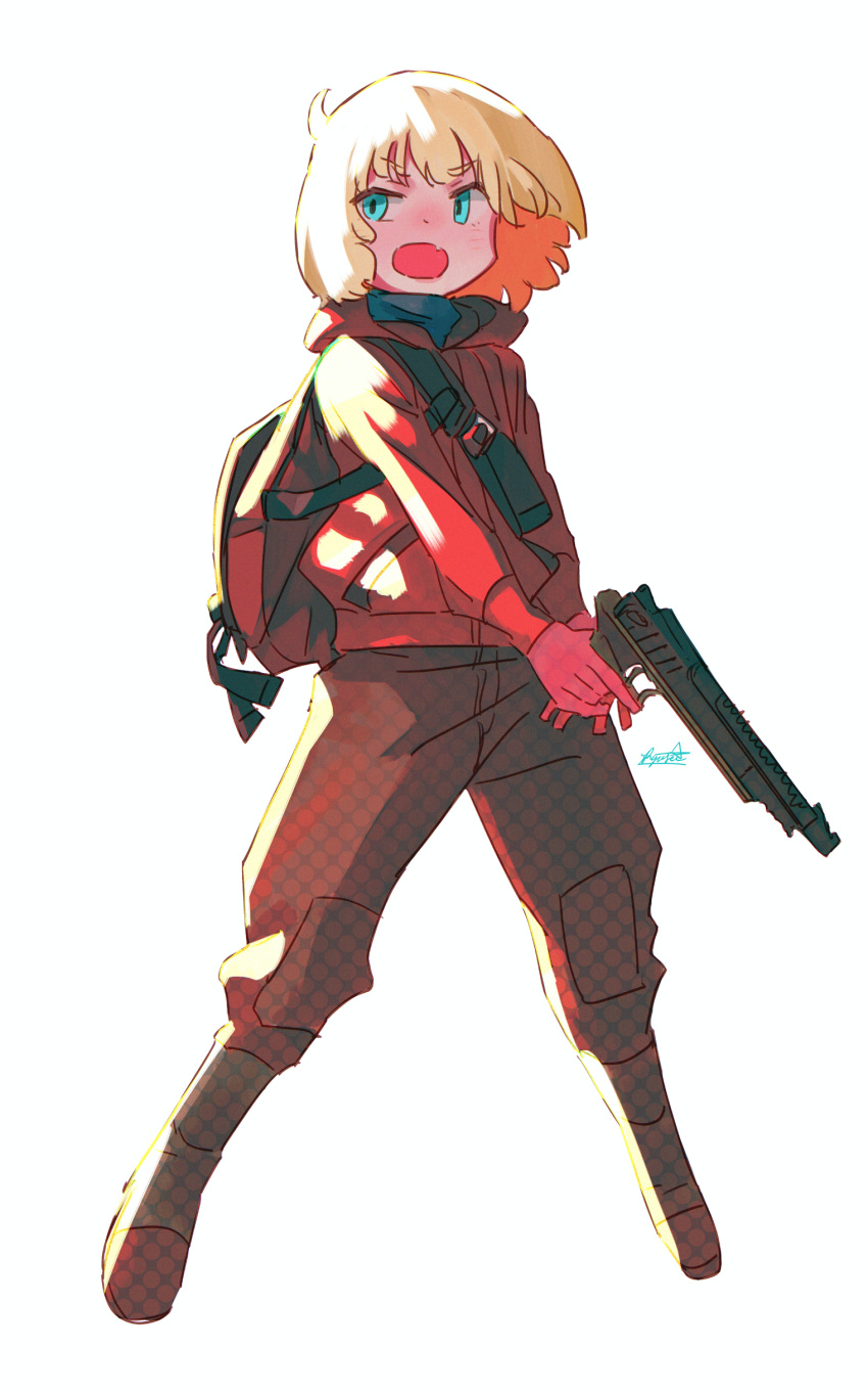 1girl absurdres backpack bag blonde_hair blue_eyes boots brown_pants gloves gun halftone handgun highres holding holding_gun holding_weapon hood hoodie jacket medium_hair open_mouth original pants pistol red_gloves red_hoodie red_jacket ryusei_hashida simple_background solo trigger_discipline two-handed weapon white_background