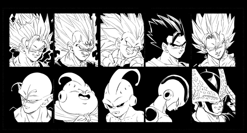 6+boys antennae aura bangs black_background black_border black_sclera border cell_(dragon_ball) clenched_hand close-up closed_eyes closed_mouth colored_sclera dragon_ball dragon_ball_z earrings electricity evil_smile face facing_viewer fenyon finger_to_face fingers_together frieza gloves gotenks hand_up head_down highres jewelry kid_buu looking_afar looking_at_viewer looking_back looking_to_the_side majin_buu majin_vegeta male_focus metamoran_vest monochrome multiple_boys neckerchief open_mouth perfect_cell piccolo pointy_ears potara_earrings profile serious simple_background smile son_gohan son_goku spiky_hair super_saiyan super_saiyan_2 super_saiyan_3 tongue vegeta vegetto veins