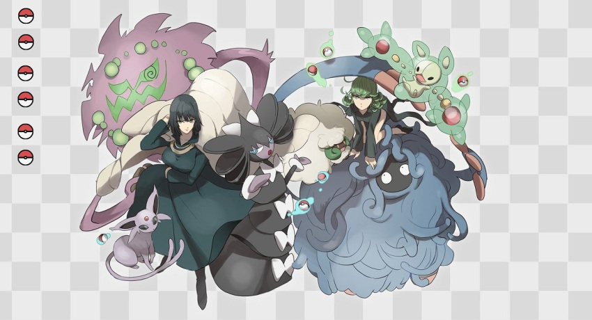 2girls arm_under_breasts bangs black_footwear black_hair breasts character_request checkered checkered_background closed_mouth commentary_request crossover dress espeon floating floating_object gen_2_pokemon gen_4_pokemon gen_5_pokemon gothitelle green_dress green_hair long_sleeves looking_at_viewer multiple_girls no-kan one-punch_man poke_ball poke_ball_(basic) poke_ball_symbol pokemon pokemon_(creature) reuniclus shoes spiritomb tangrowth tatsumaki telekinesis two-tone_background whimsicott