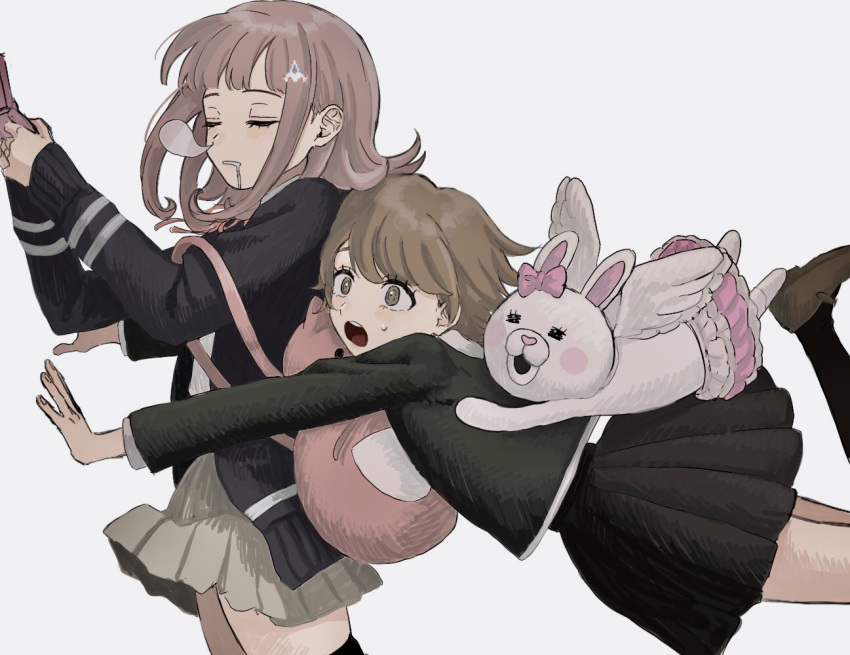 1boy 1girl animal_bag backpack bag bangs black_jacket black_legwear blush bow breasts brown_hair brown_shirt brown_skirt cat_bag closed_eyes commentary_request danganronpa:_trigger_happy_havoc danganronpa_(series) danganronpa_2:_goodbye_despair drooling ear_bow flipped_hair frilled_skirt frills from_side fujisaki_chihiro glomp hair_ornament hairclip handheld_game_console hands_up holding holding_handheld_game_console hood hug jacket kneehighs long_sleeves medium_hair nanami_chiaki nose_bubble open_mouth pink_bow pink_skirt pleated_skirt renshu_usodayo ribbon shirt short_hair skirt sleeping sleeping_upright spaceship_hair_ornament strap_slip sweat thigh-highs usami_(danganronpa) wings