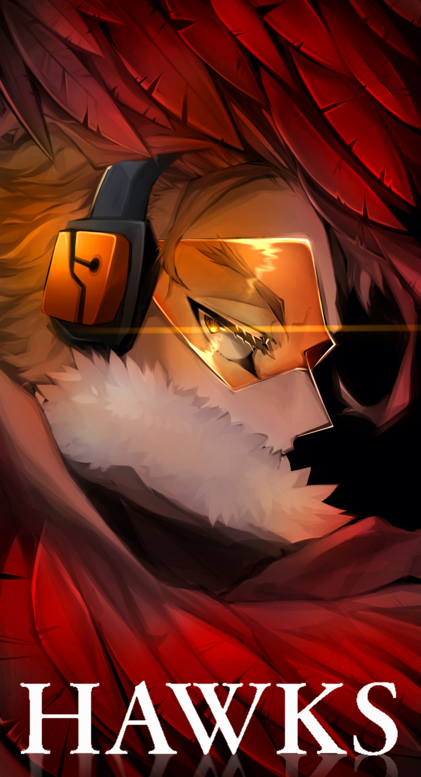 1boy absurdres blonde_hair boku_no_hero_academia character_name commentary english_commentary face facial_mark feathered_wings feathers fur_trim half-closed_eyes hawks_(boku_no_hero_academia) headphones highres looking_back male_focus mochiboni orange-tinted_eyewear orange_eyes profile red_feathers red_wings short_hair sideways_glance slit_pupils solo tinted_eyewear wings