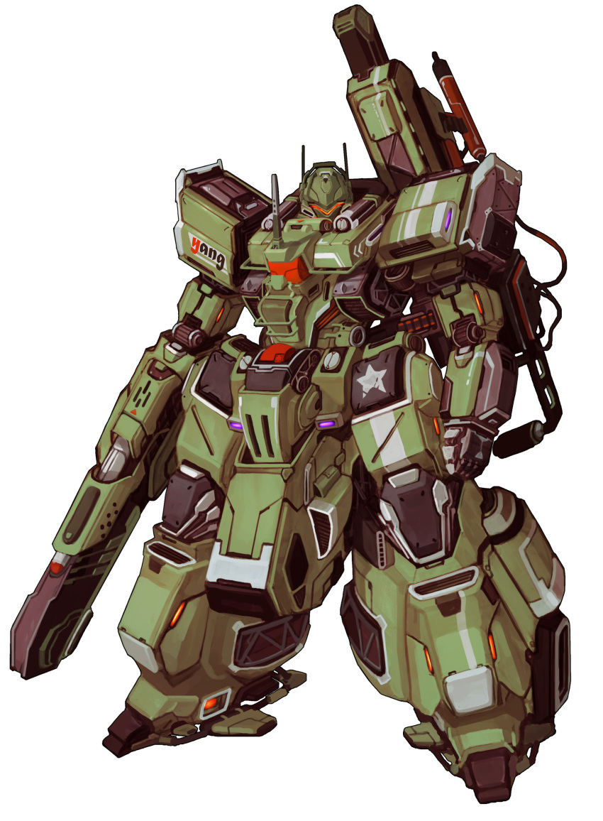 absurdres arm_cannon clenched_hand glowing highres looking_at_viewer mecha no_humans original radio_antenna science_fiction solo standing visor weapon white_background yang_youcai