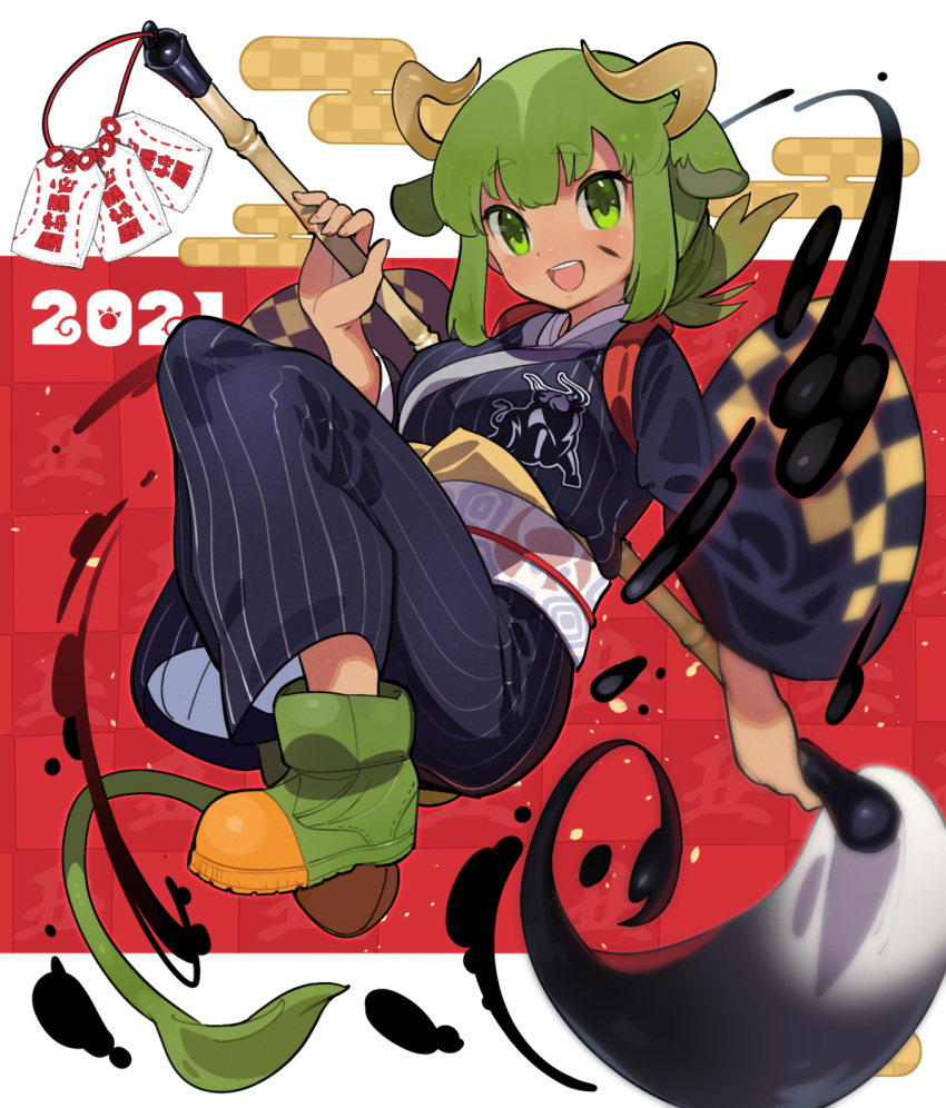 1girl 2021 :d alternate_costume animal_ears aurochs_(kemono_friends) bangs brown_hair brush chinese_zodiac contemporary cow_ears cow_girl cow_horns cow_tail curled_horns eyebrows_visible_through_hair full_body giant_brush green_eyes green_hair highres holding holding_brush holding_paintbrush horns ink japanese_clothes kazue_nishiki kemono_friends kimono knees_up long_sleeves looking_at_viewer low_ponytail medium_hair multicolored_hair new_year obi open_mouth paint paintbrush ponytail sash shoes short_ponytail smile solo tail tan two-tone_hair wide_sleeves year_of_the_ox