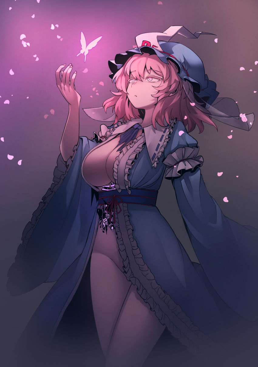 1girl absurdres breasts bug butterfly darkness fingernails glowing hat highres insect japanese_clothes kimono large_breasts no_panties nyong_nyong obi open_clothes open_kimono petals pink_eyes pink_hair saigyouji_yuyuko sash touhou wide_sleeves