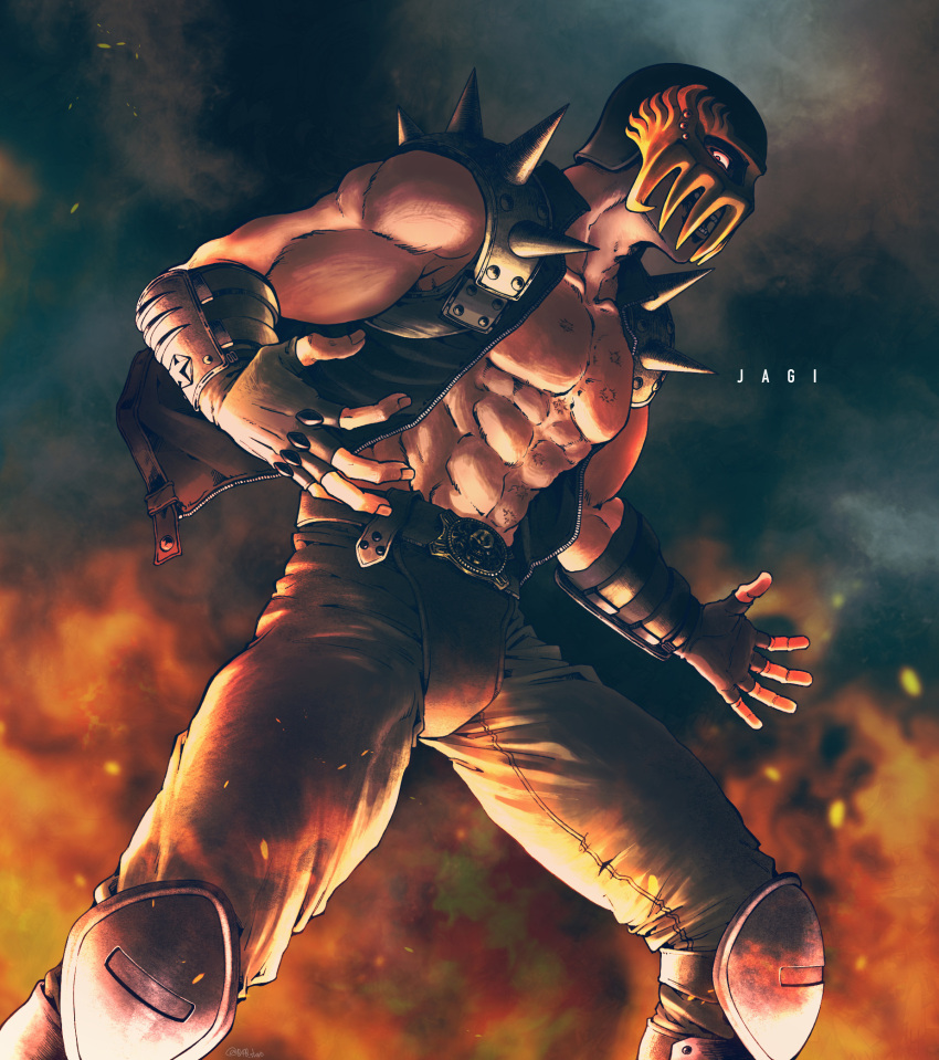 040shao 1boy abs arm_guards belt black_jacket brown_gloves brown_pants character_name commentary cowboy_shot embers fingerless_gloves gloves glowing glowing_eyes helmet highres hokuto_no_ken jacket jagi knee_guards looking_at_viewer looking_to_the_side male_focus muscular muscular_male open_clothes open_jacket open_mouth pants red_eyes scar scar_on_chest solo spiked_pauldrons