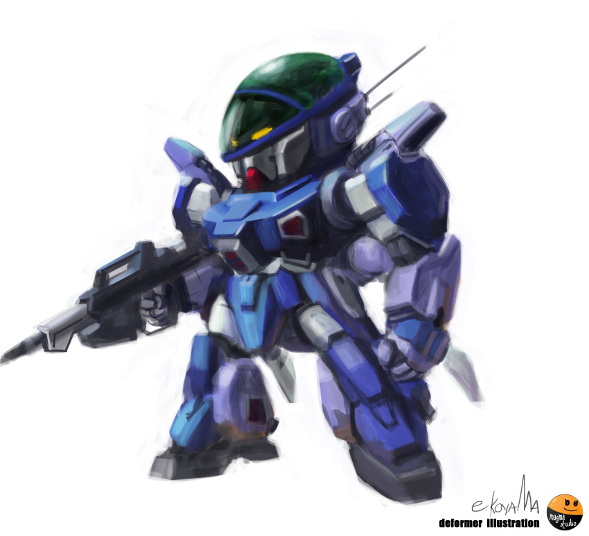 absurdres aoki_ryuusei_spt_layzner artist_name chibi clenched_hand gun highres holding holding_gun holding_weapon layzner looking_ahead magmastudio mecha no_humans radio_antenna science_fiction solo standing weapon white_background yellow_eyes