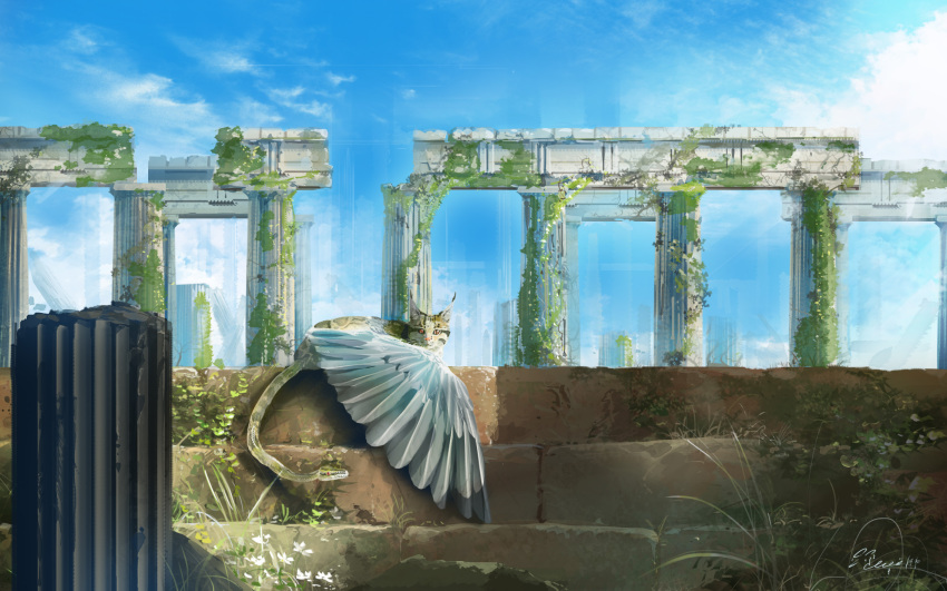 blue_sky cat chimera fantasy feathered_wings flower grass hachiya_shohei highres looking_at_viewer moss no_humans original photo-referenced pillar red_eyes ruins scenery sky snake snake_tail spotted_fur tail white_flower wings