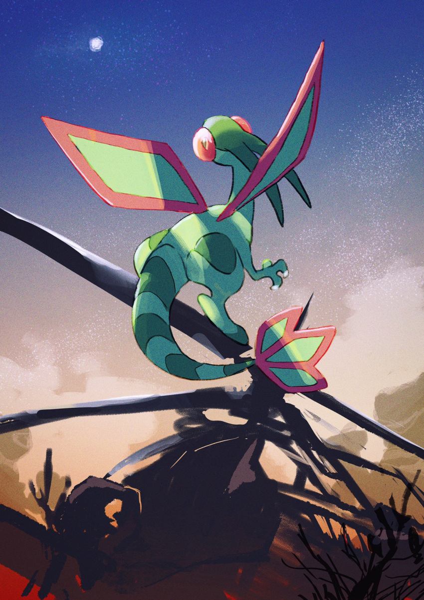 aircraft claws commentary_request flygon from_below gen_3_pokemon helicopter hemhemhoo highres looking_up moon night no_humans outdoors pokemon pokemon_(creature) sky standing