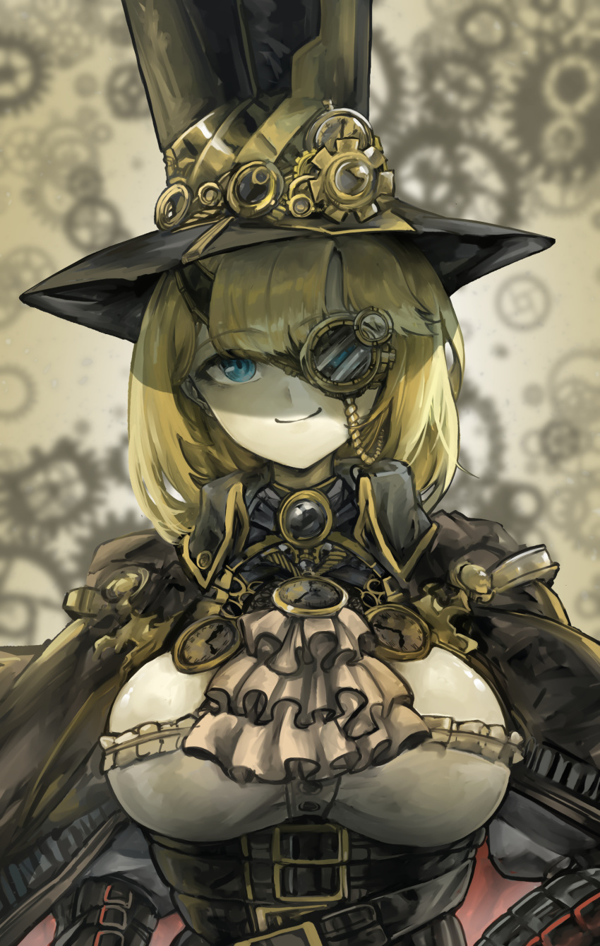1girl absurdres alternate_costume bangs belt black_belt black_capelet black_headwear breasts capelet corset eyebrows_visible_through_hair hat head_tilt highres hololive hololive_english large_breasts looking_at_viewer medium_hair monocle multiple_belts smile solo steampunk top_hat virtual_youtuber vyragami watson_amelia